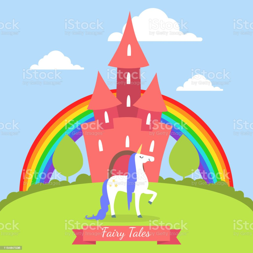 Fairy Tales Banner Template, Cute Magic Castle with Rainbow and...