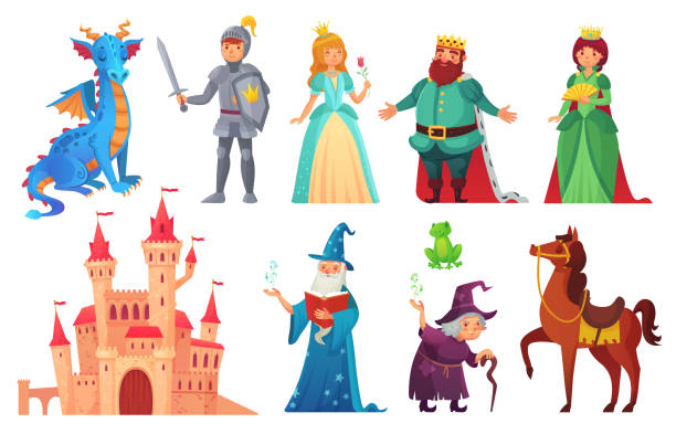 illustrazioni stock, clip art, cartoni animati e icone di tendenza di fairy tales characters. fantasy knight and dragon, prince and princess, magic world queen and king isolated cartoon vector set - personaggio fantastico