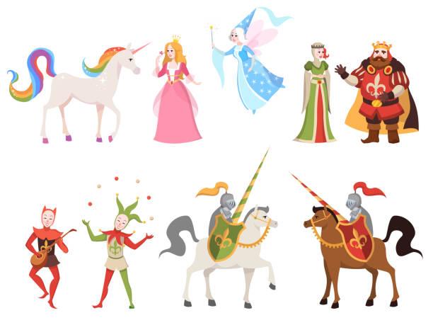 bildbanksillustrationer, clip art samt tecknat material och ikoner med sagor tecken. wizard riddare drottning kung prinsessa prins medeltida fairy castle dragon magiska uppsättning tecknad, vektor illustration - häst tävling