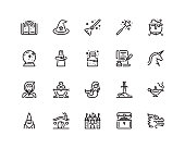 20 pixel perfect Fairy tales and magic icon set in outline style