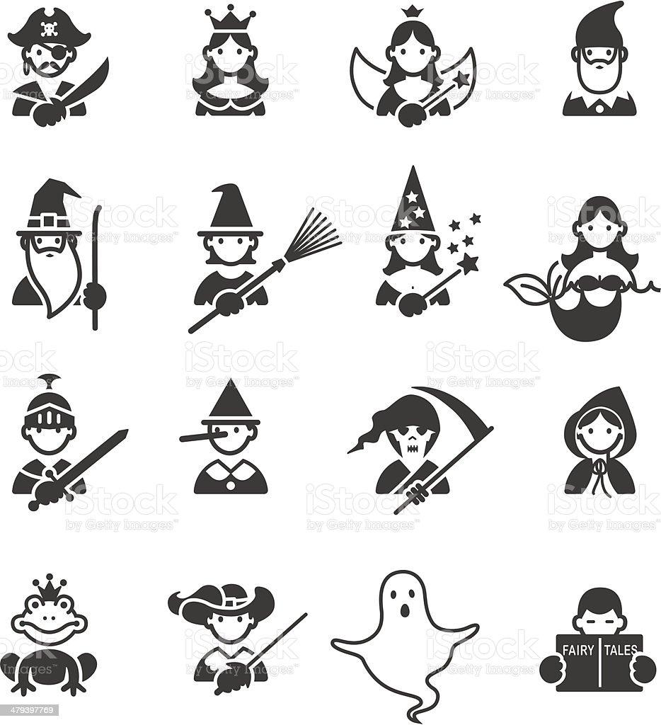 Ícones de contos de fadas - ilustração de arte em vetor