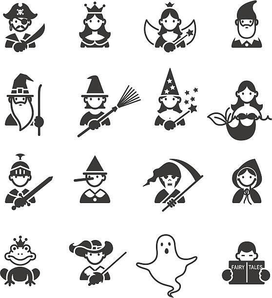märchen und symbole - geistergeschichten stock-grafiken, -clipart, -cartoons und -symbole