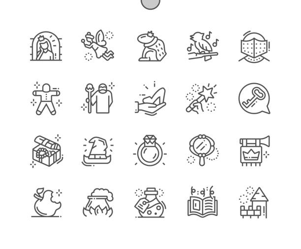 illustrazioni stock, clip art, cartoni animati e icone di tendenza di fairy tales well-crafted pixel perfect vector thin line icons 30 2x grid for web graphics and apps. simple minimal pictogram - deadly sings