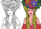 fairy with long hair in elegant dress