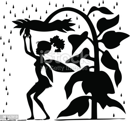 Fairy With Sunflower Umbrella Silhouette Stock Vector Art