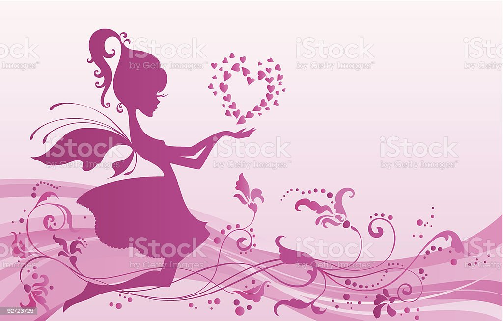 Fairy with valentines royalty-free stock vector art