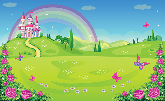 Fairytale background with flower meadow. Wonderland. Cartoon, children's illustration. Princess's castle and rainbow. Fabulous landscape. Beautiful Park with roses, butterflies. Romantic story. Vector
