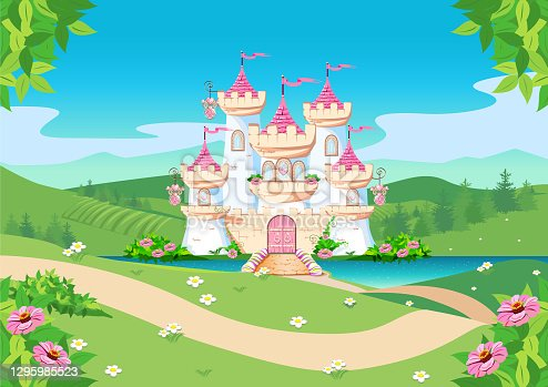 istock fairytale background with princess castle 1295985523