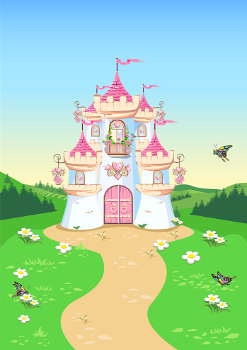 fairytale background with princess castle