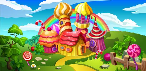 eine märchenhafte süßigkeiten-stadt. - wackelpuddingkekse stock-grafiken, -clipart, -cartoons und -symbole