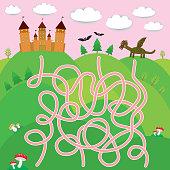 Fairy-tale castle, dragon, bats, forest labyrinth game for Preschool Children. Vector illustration