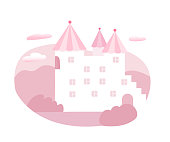 Fairytale castle flat vector illustration