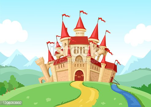 istock Fairytale castle illustration Fantasy landscape with fairy kingdom medieval house. 1206053932