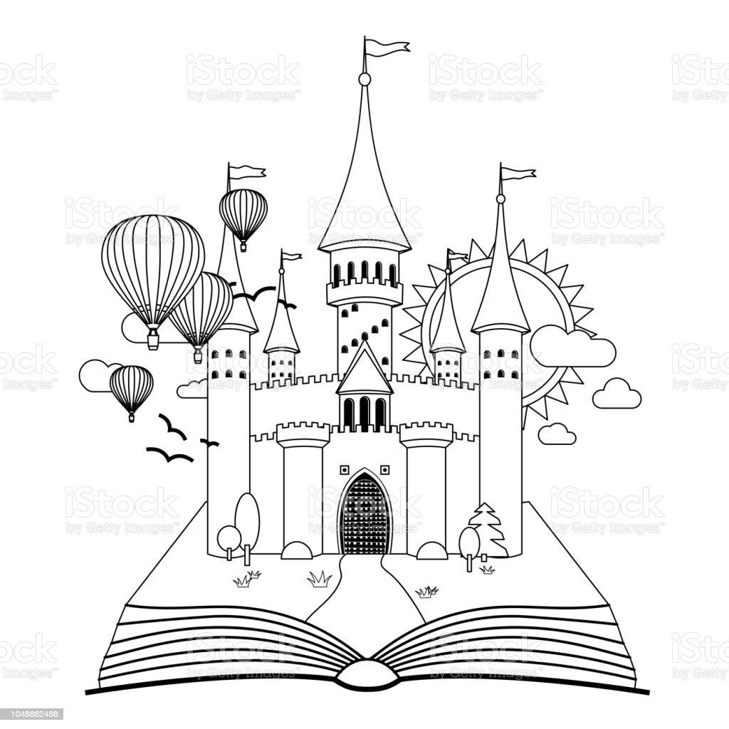Chateau De Conte De Fees Sur Le Livre A Colorier Image Vectorielle Vecteurs Libres De Droits Et Plus D Images Vectorielles De Arbre Istock