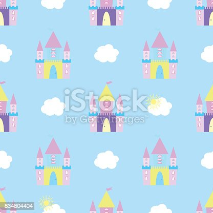 Fairytale castle seamless pattern vector