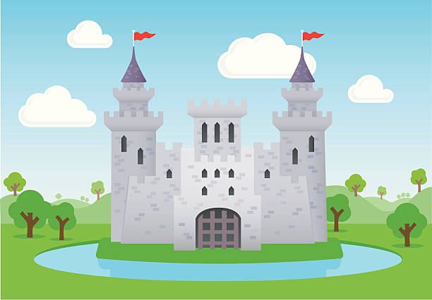 Fairytale castle Fairytale castle with moat, portcullis and towers with spires castle stock illustrations