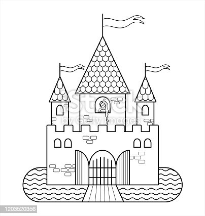 Beautiful Princess Coloring Book Page Clipart Image