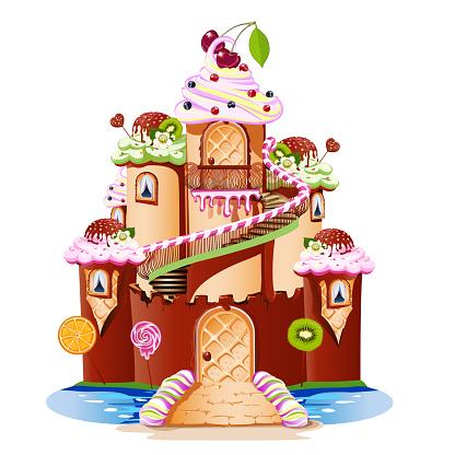 お菓子の作られたおとぎ話の城の塔とバルコニー付き おとぎ話のベクターアート素材や画像を多数ご用意 Istock