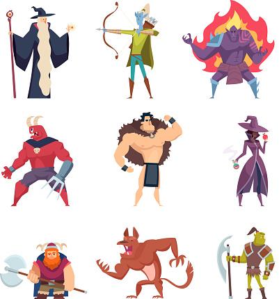 Fairytale characters. Fantasy creatures gremlins orc human warriors demon elf sorcerer giants vector cartoon pictures set