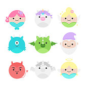 Cute vector icon set of fairytale characters, mythical creatures. Round illustrations; mermaid, unicorn, fairy, cyclops monster, dragon, dwarf, devil, pegasus and angel. Isolated.