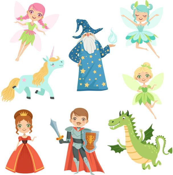 märchenfiguren in verschiedenen kostümen eingestellt. prinzessin, lustige einhorn. zauberer, drachen und ritter. vektor-illustrationen im cartoon-stil - prince stock-grafiken, -clipart, -cartoons und -symbole