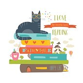 Fairytale concept with book and cat. Vector illustration