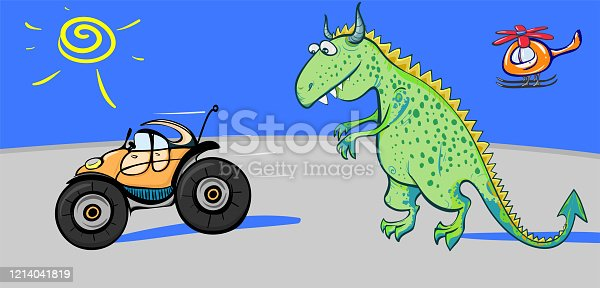 A fairytale dinosaur is chasing a toy car on the road against a blue sky