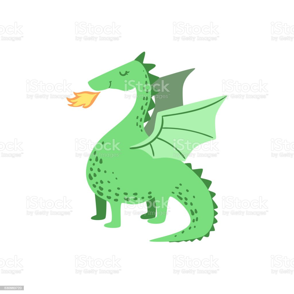 Fairytale Dragon Drawing vector art illustration