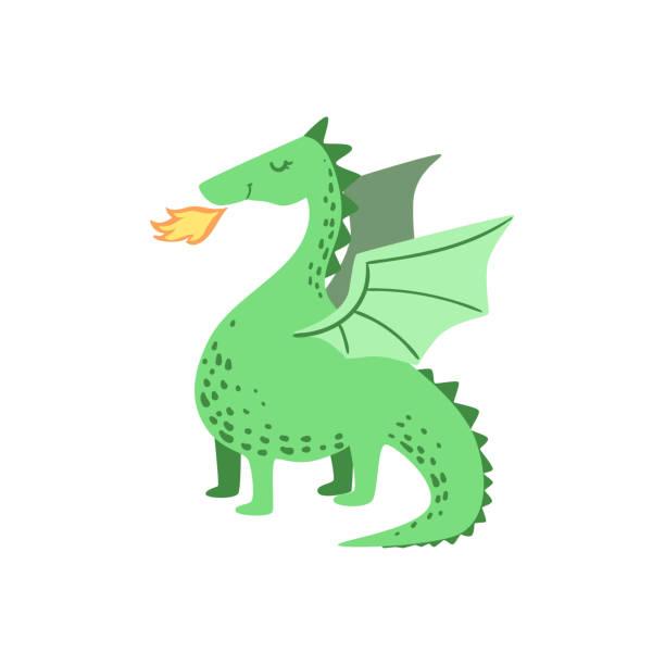 fairytale dragon drawing - dragon stock illustrations, clip art, cartoons, & icons