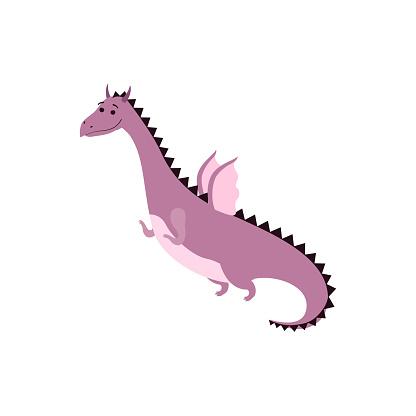 Fairytale dragon flat isolated vector illustration isolated on white background.