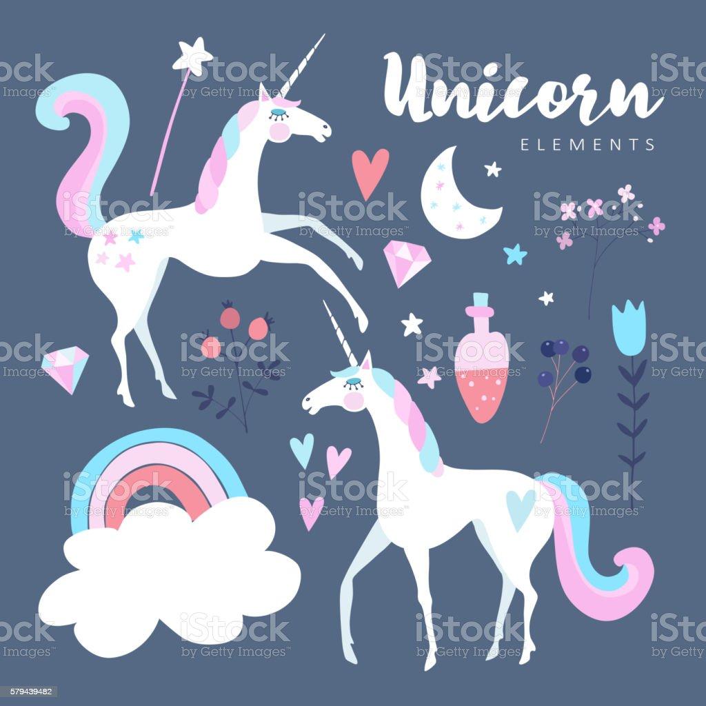 Fairytale elements. Unicorn with rainbow, stars, cloud, magic potion, flowers. vector art illustration