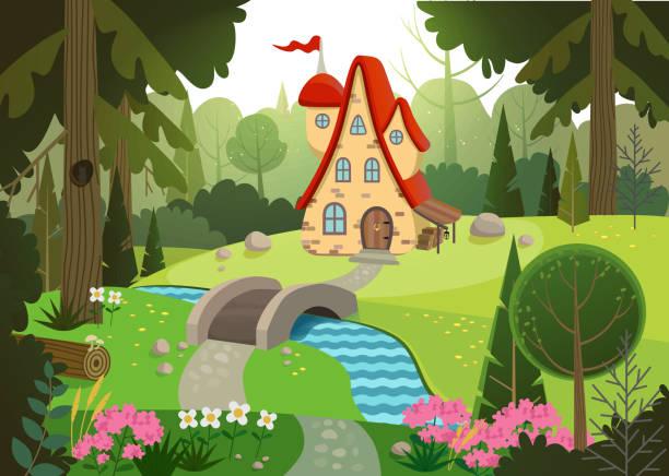 Märchenwald mit Haus und Brücke über den Fluss. Haus umgeben von Bäumen und Fluss. Flache Vektor-Illustration. – Vektorgrafik