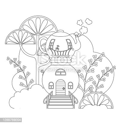 fairy-tale house made of a samovar with a teapot. Children's coloring book. Vector