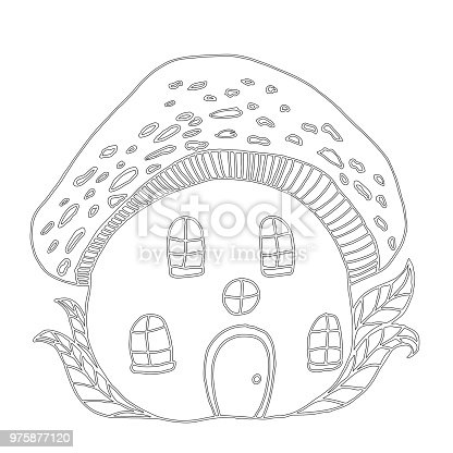 istock Adult coloring book page. Mono color black ink illustration ...