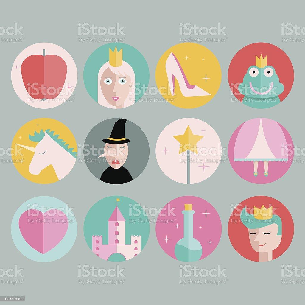 Iconos de cuento de hadas - ilustración de arte vectorial