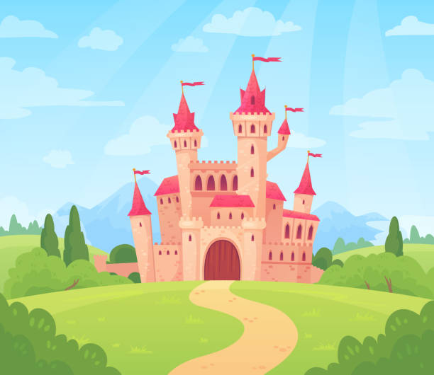 Fairytale landscape with castle. Fantasy palace tower, fantastic fairy house or magic castles kingdom cartoon vector background Fairytale landscape with castle. Fantasy palace tower, fantastic fairy house or magic castles kingdom. Old medieval stone tale castle architecture building cartoon vector background fairy tale stock illustrations