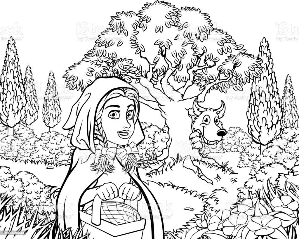 Kleurplaten Voor Volwassenen Steden.Fairytale Kleine Rode Riding Hood Scene Kleurplaten