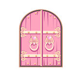 Fairytale pink door of a beautiful princess. Antique door with forged decorations. Cartoon style. Vector illustration isolated on a white background.