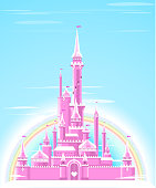 Fairy-tale Pink Sparkly Palace Castle Fortress with Rainbow and flag vector illustration.