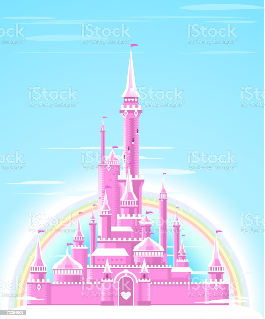 Fairytale Pink Shining Sparkly Palace Castle Fortress with Rainbow vector art illustration