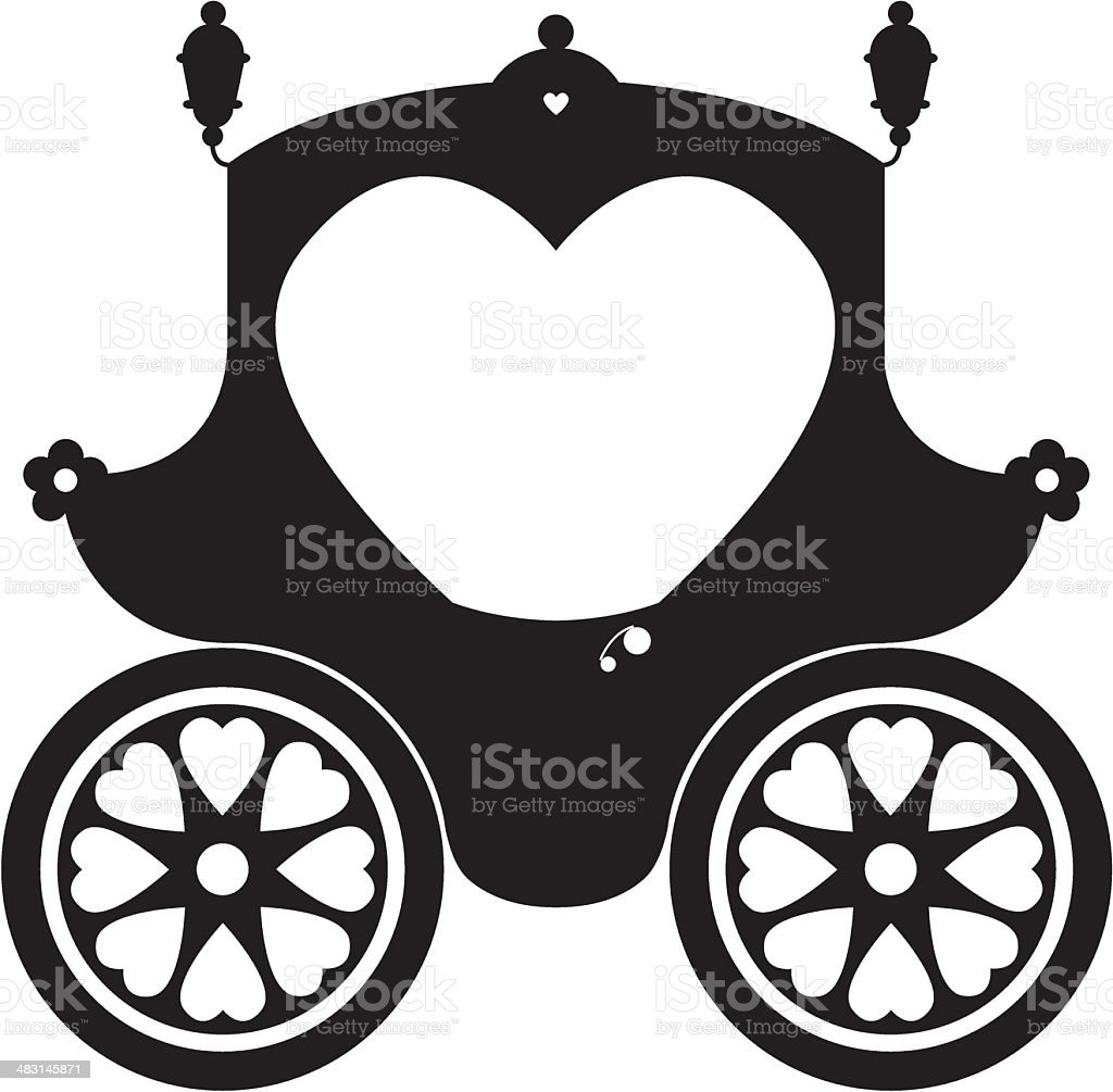 Fairytale Princess Carriage in Silhouette royalty-free stock vector art