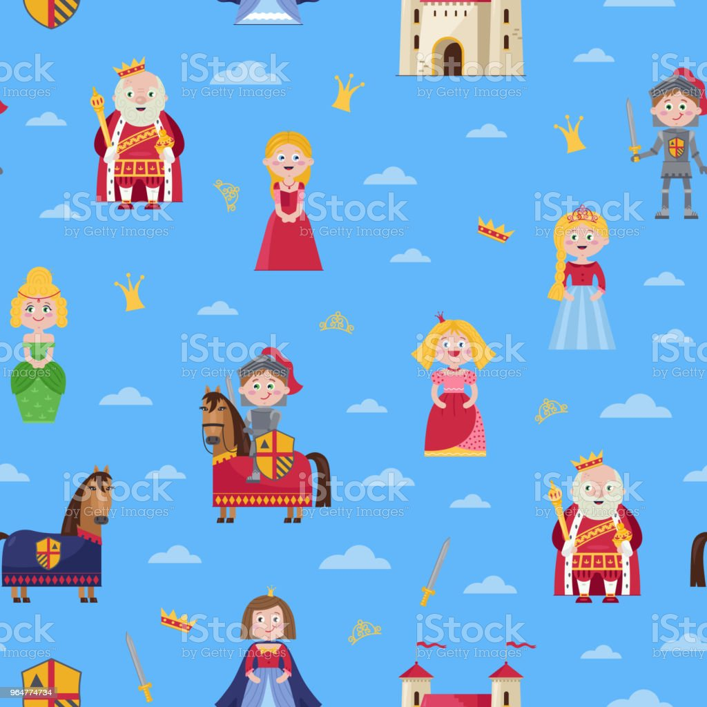 Fairytale seamless pattern in cartoon style royalty-free fairytale seamless pattern in cartoon style stock vector art & more images of art
