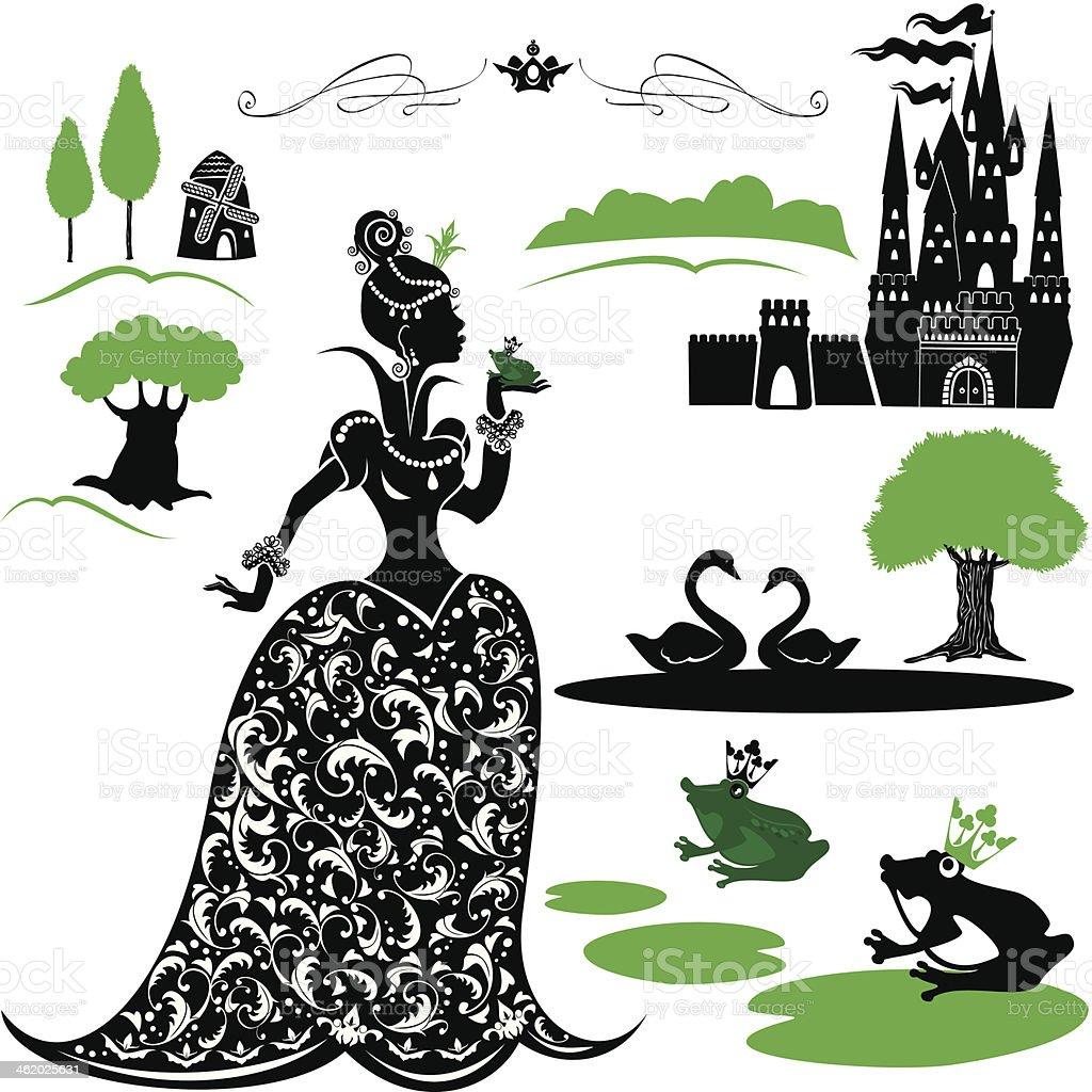 Märchen Set-Silhouetten von Prinzessin mit Frosch, castle, forest – Vektorgrafik