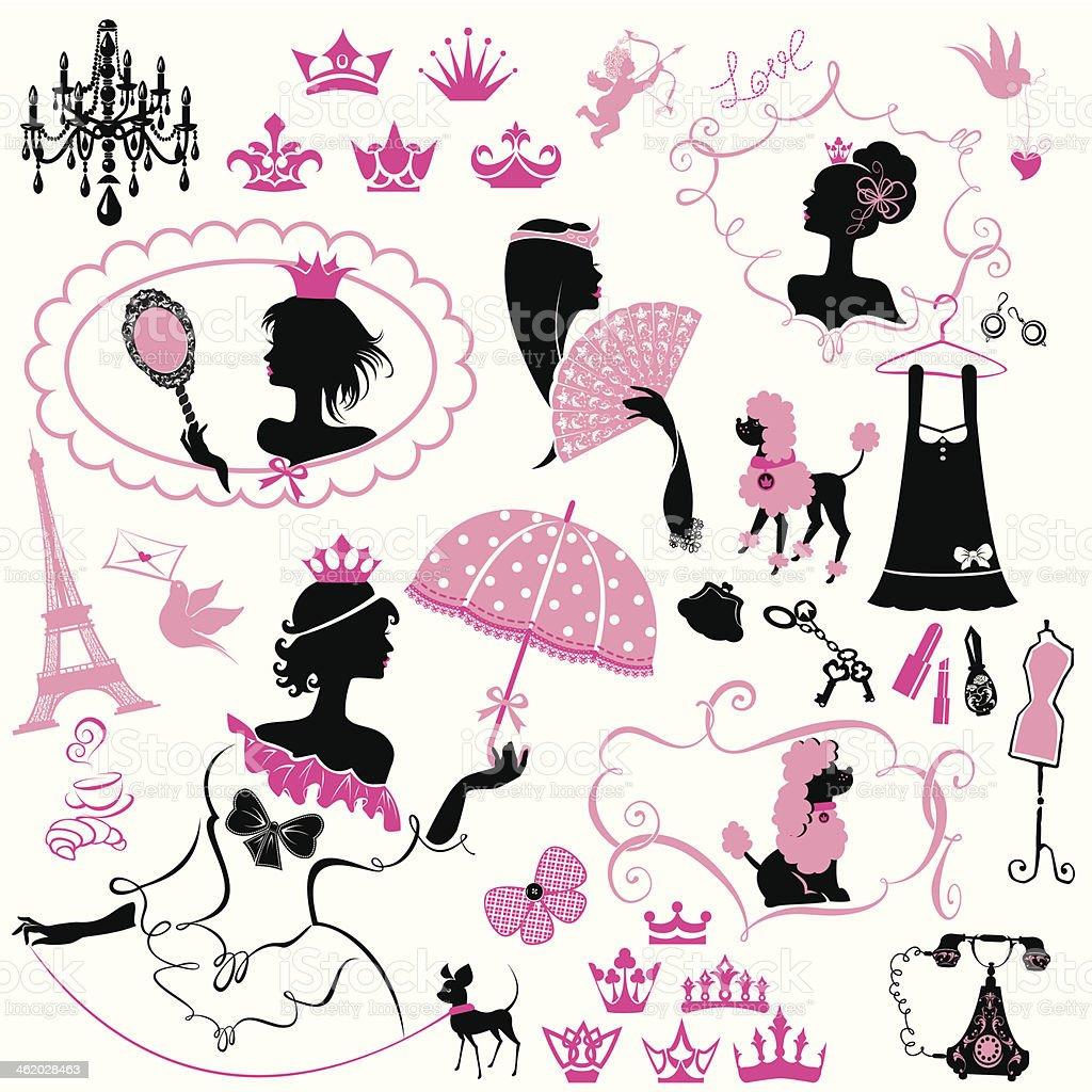 Märchen Set-Silhouetten von Prinzessin Mädchen – Vektorgrafik