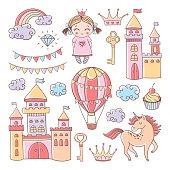 Fairytale set with castles, hot air balloonand unicorn