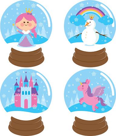Fairytale snowglobe vector set