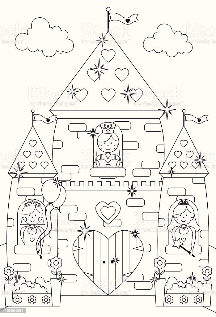 Fairytale Sparkly Castle And Princess Characters To Color In. Royalty Free  Fairytale Sparkly Castle