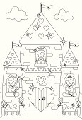 Outline drawing of princesses at the windows of their fairy tale palace/castle with fluffy clouds in the background. Ideal for printing out and coloring in!