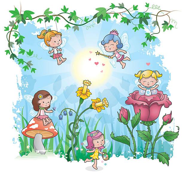 Fairytale spring vector art illustration