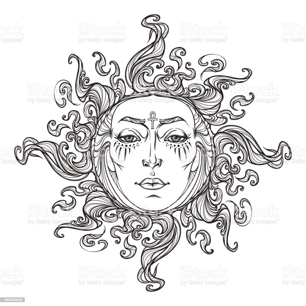 Estilo de cuento de hadas de la mano sol dibujado con un rostro humano. - ilustración de arte vectorial